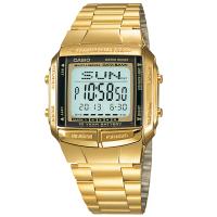 【CASIO 卡西歐】DATABANK系列 金色復刻 街頭潮流 世界時間 不鏽鋼手錶 金色 36mm(DB-360G-9A)