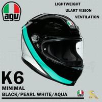 任我行騎士部品 AGV K6 極輕量化 通風 舒適 全新設計 全罩式安全帽 MINIMAL 黑白蒂芬妮綠 K-6