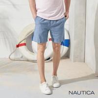 【NAUTICA】舒適純棉鬆緊抽繩短褲(藍色)