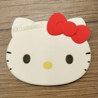 18112300007 矽膠頭型隨身鏡-KT紅結 凱蒂貓 kitty 三麗鷗 隨身鏡 鏡子 隨身攜帶 化妝鏡 真愛日本