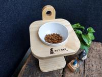 【PET BAY】可調式原木單口碗架(附陶瓷碗) A1215 寵物餐桌 寵物碗架 貓狗碗架 寵物碗 斜面 防水 台灣製造