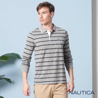 【NAUTICA】撞色雙條紋長袖POLO衫(灰色)