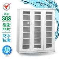【IHouse】SGS 防潮抗蟲蛀緩衝塑鋼三開門鞋櫃 寬97深33.5高117cm
