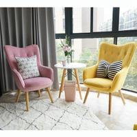 陽台臥室休閒沙發椅子布藝單人沙發椅北歐現代簡約客廳高背公主椅全館促銷·限時折扣