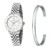 刷卡滿3千回饋5%點數|MASERATI 瑪莎拉蒂 SUCCESSO LADY 光動能經典手環套組腕錶32mm(R8853145507)