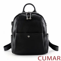 【CUMAR】極簡休閒軟質真皮後背包(黑色)