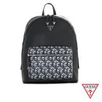 【GUESS】男包-拼接幾何立體印花後背包-黑(VS806998BLA)