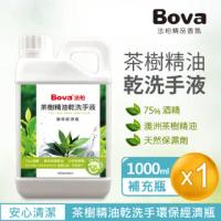 【Bova 法柏精品香氛】茶樹精油乾洗手液1公升環保經濟瓶(75%酒精+澳洲茶樹精油)