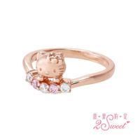 【2sweet 甜蜜約定】Hello Kitty玫瑰金系列純銀戒指(甜蜜約定 KT 玫瑰金銀飾)