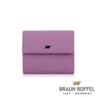 【BRAUN BUFFEL 德國小金牛】台灣總代理 艾蒂 7卡三折皮夾-粉紫色(BF652-520-BO)