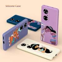 Aladdin Jasmine Princess Liquid Silicone Soft Cover For Huawei P50 P40 P30 P20 P Smart Z Pro Lite E Plus 2021 Phone Case