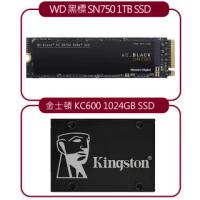 【SSD超值組】WD 黑標 SN750 1TB NVMe SSD + 金士頓 KC600 SATA-3 1024GB SSD 固態硬碟