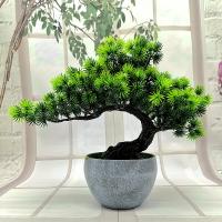 仿真植物盆景擺假樹盆栽美人松羅漢松樹枝塑料假樹木盆栽家居裝飾