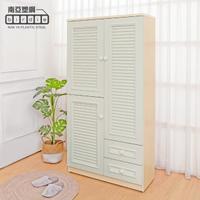 【南亞塑鋼】3尺三門二抽防水塑鋼百葉高鞋櫃(白橡色+白色)