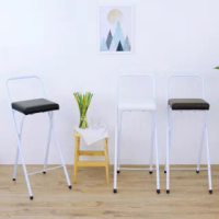 【美佳居】鋼管[厚型沙發皮革椅座]高腳折疊椅/吧台椅/高腳椅/櫃台椅/餐椅/洽談椅/休閒椅/摺疊椅(三色可選)