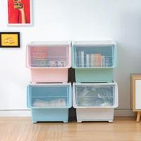 4入組 前開式斜口收納箱 特大款 可堆疊衣物收納整理盒(玩具 雜貨收納 透明前蓋)