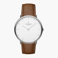 刷卡滿3千回饋5%點數|Nordgreen Native本真 月光銀系列復古棕真皮腕錶40mm(NR40SILEBRXX)
