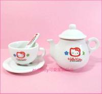asdfkitty可愛家☆kitty早期小花版陶瓷小擺飾-杯+壺+盤+湯匙-1997年出品絕版商品-日本製