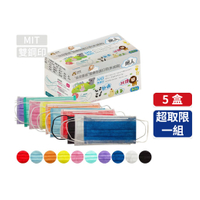 台灣優紙 MIT 雙鋼印 醫療防護口罩 成人款 50入/盒 5盒組 (紫色、藍色)