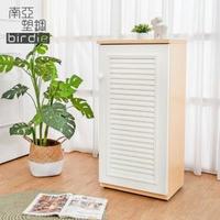 【南亞塑鋼】1.6尺單門百葉塑鋼收納置物櫃/隙縫櫃/鞋櫃(白橡色+白色)