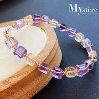 【my stere 我的時尚秘境】時尚甜美~天然紫黃水晶方塊造型手鍊(旺事業 招正財 招偏財)