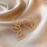2021 SimpleโลหะทองหัวใจไขลานGeoemtric Dropต่างหูสำหรับสาวงานแต่งงานสาวเครื่องประดับเกาหลีอุปกรณ์เสริม