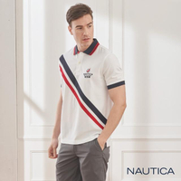 【NAUTICA】斜紋拼接吸濕快乾短袖POLO衫(白色)