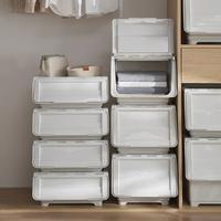 前開式玩具衣物收納箱翻蓋斜口整理箱零食收納盒宿舍居家衣服收納