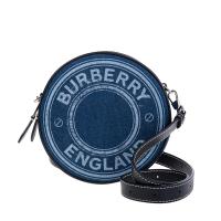 【BURBERRY 巴寶莉】新款雙色標誌圖案LOGO帆布拼皮革Louise圓餅斜背包(深藍色)