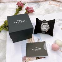 刷卡滿3千回饋5%點數 美國代購  台灣現貨 COACH 14503152 黑色真皮錶帶 女錶 手錶 晶鑽錶
