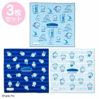 小禮堂 哆啦A夢 日製 純棉紗布便當包巾組 餐巾 手帕 桌巾 桌墊 43x43cm (3入 藍 時光機)