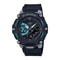 G-SHOCK 碳核心防護構造雙顯計時錶-黑x藍綠 (GA-2200M-1A)