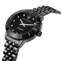 【MASERATI 瑪莎拉蒂】SUCCESSO LADY 光動能水晶鑽黑鋼質感腕錶32mm(R8853145501)