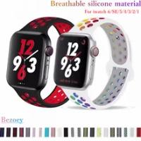 ซิลิโคน Apple Watch Band 44มม.42มม.40มม.38มม.Breathable กีฬาสายรัดข้อมือสร้อยข้อมือ IWatch Series5 4 3 se 6 Watchband อุปกรณ์เสริม