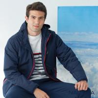 【NAUTICA】男裝防風防潑水收納式輕便保暖外套(深藍)