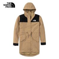 【The North Face】The North Face北面女款卡其色防水透氣連帽衝鋒衣 4U9OPLX