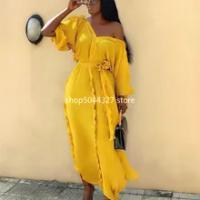 Baru Gaun Afrika untuk Wanita Dashiki Falbala Gaun Afrika Pakaian Bazin Riche Seksi Pleat V-Leher Panjang Afrika Maxi Dress Wanita