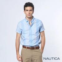 【NAUTICA】清新質感條紋短袖襯衫(藍)
