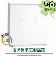 【綠家居】森活 環保3.2尺塑鋼三門單抽鞋櫃/玄關櫃(八色可選)