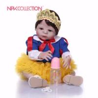 NPK 57 Cm Snow White Full Body Silikon Gadis Reborn Bayi Mainan Boneka Putri Bayi Boneka Wig Rambut Hadiah Ulang Tahun hadiah Natal