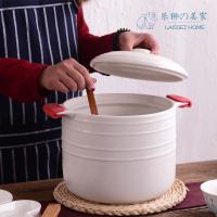 (湯鍋)樂獅超大容量8L燉鍋砂鍋煲湯煮粥蒸汽鍋陶瓷鍋明火耐高溫沙鍋大號