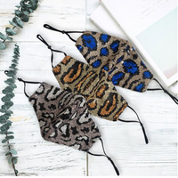 【FIFI 飛時尚】炫彩豹紋亮片內層口袋可換濾片耳掛繩可調式防塵透氣棉布口罩(多色任選)