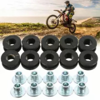 10pcs/set Buffer Washer Motorcycle Rubber Grommets Buffer Washer Compatible for Kawasaki Motorcycle Pressure Relief Cushion