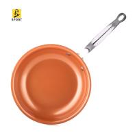 10英寸陶瓷塗層銅鍋,不粘煎鍋,用於電磁烹飪鍋/平底鍋