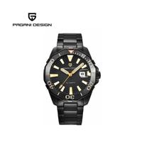 【PAGANI DESIGN】時尚機械水鬼不鏽鋼造型腕錶 PD-1617-黑橘