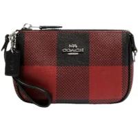 【COACH】Nolita紅X黑蘇格蘭紋印花PVC迷你款手提手拿麻將包