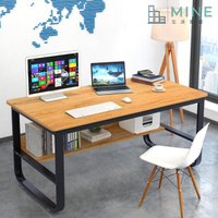 【MINE家居】鋼木電腦桌 120x60 黃梨木黑架(加粗鋼架穩固耐用 附防滑腳墊)