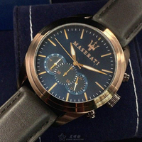 【MASERATI 瑪莎拉蒂】瑪莎拉蒂男女通用錶型號R8871612008(寶藍色錶面古銅色錶殼咖啡色真皮皮革錶帶款)