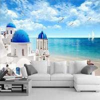 歐式3d立體地中海墻布客廳沙發電視背景墻紙8D壁紙大型壁畫5D大海 陽光好物 雙十二購物節鉅惠