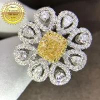 18 K สีขาวทองแหวนเพชรหมั้นงานแต่งงานธรรมชาติแหวนเพชรเครื่องประดับมี Certificate 003